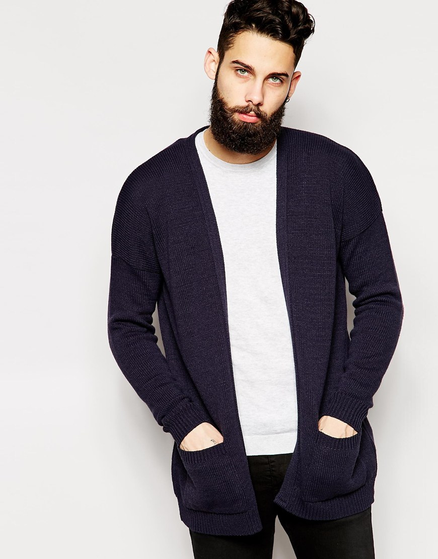 Asos Longline Cardigan With Open Front in Blue for Men | Lyst