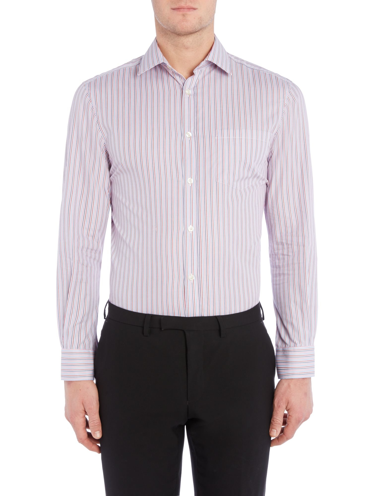 Lyst howick campbell stripe shirt with single cuff in for Single cuff dress shirt