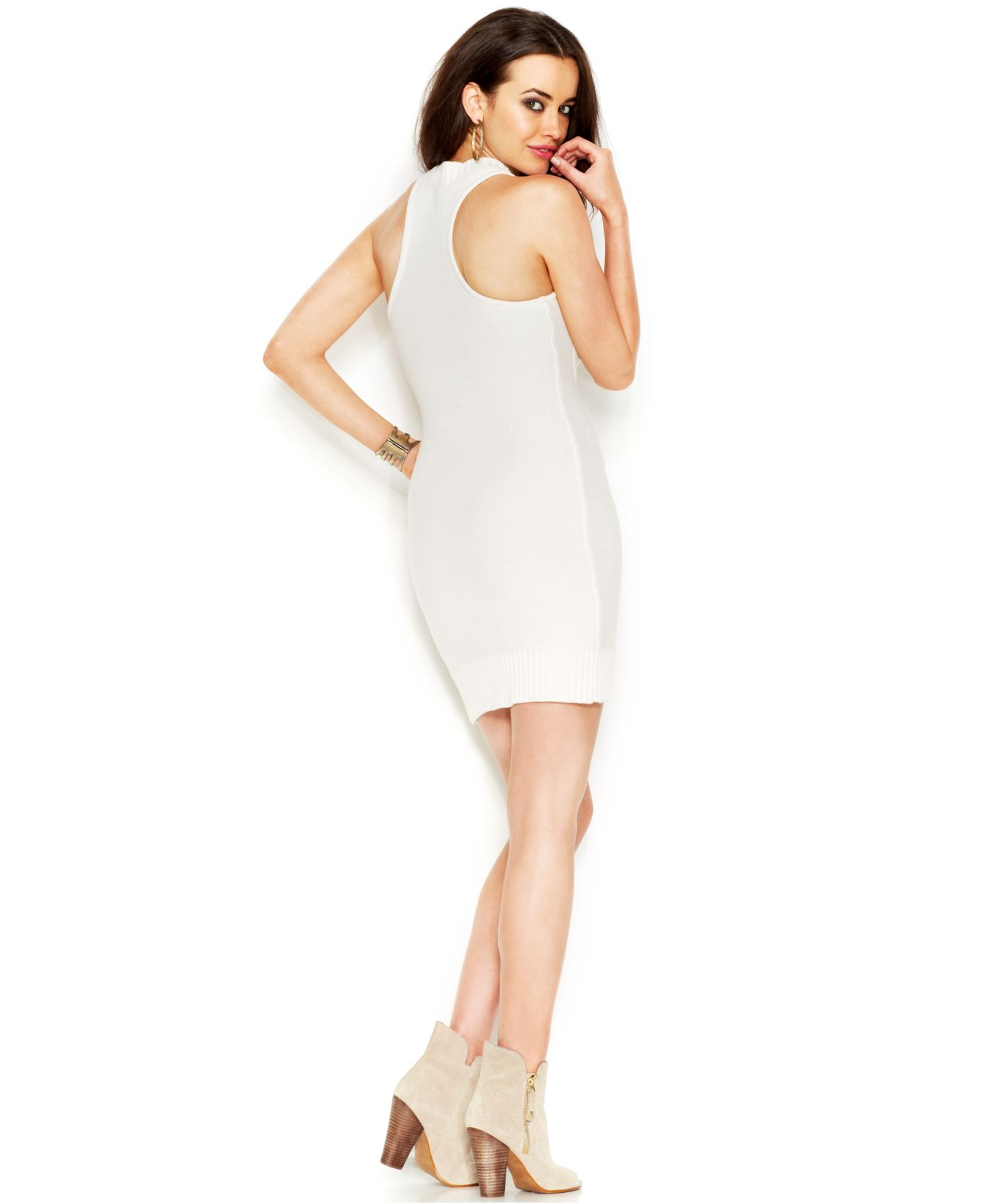 4273cdc950d Guess Sleeveless Mock-Turtleneck Body-Con Sweater Dress in White - Lyst