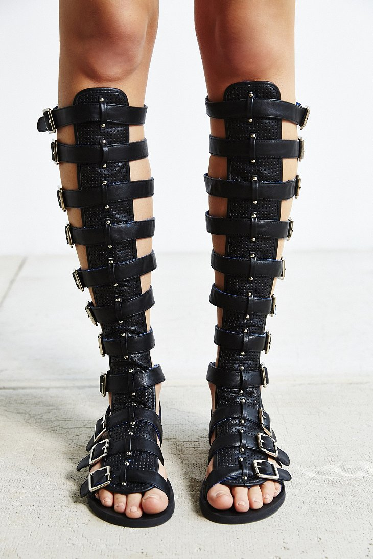 a52e295bb46e Lyst - Jeffrey Campbell Izmir Gladiator Sandal in Black