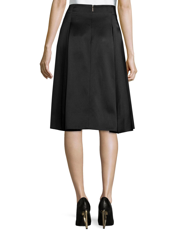 jason wu pleated satin twill a line skirt in black lyst
