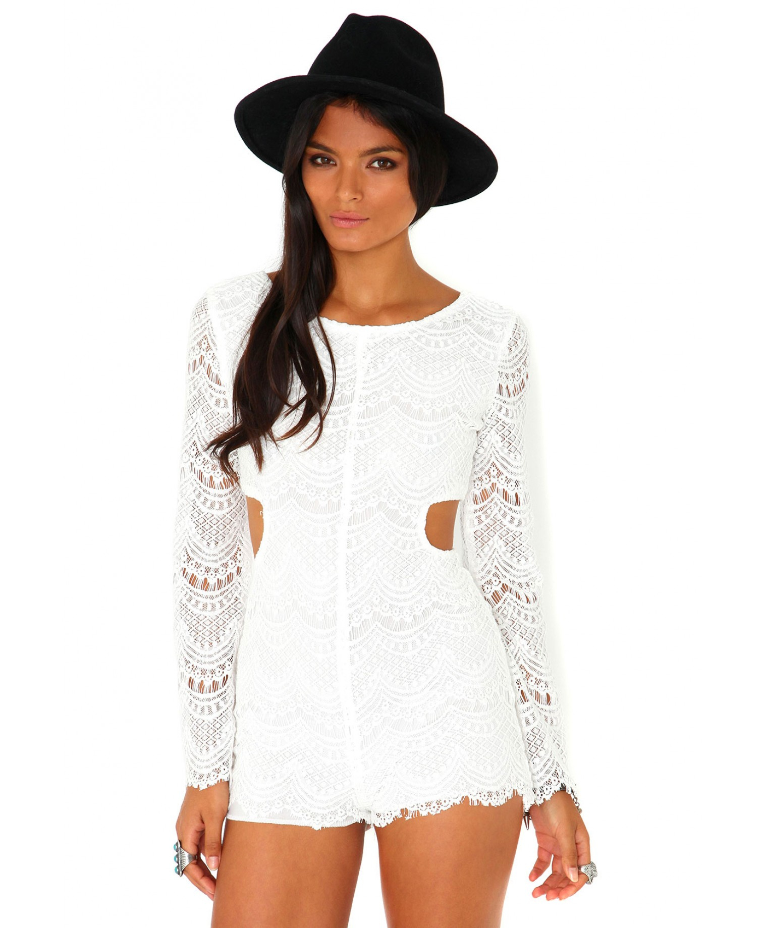a16ceab106f4 Lyst - Missguided Racquel Long Sleeve Cut Out Lace Playsuit