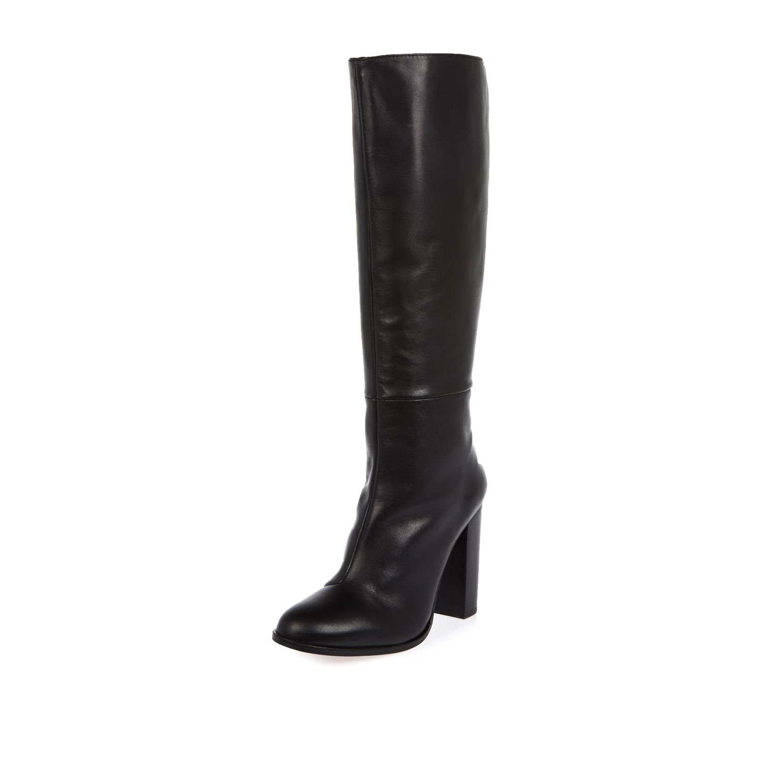 river island black leather knee high heeled boots in black