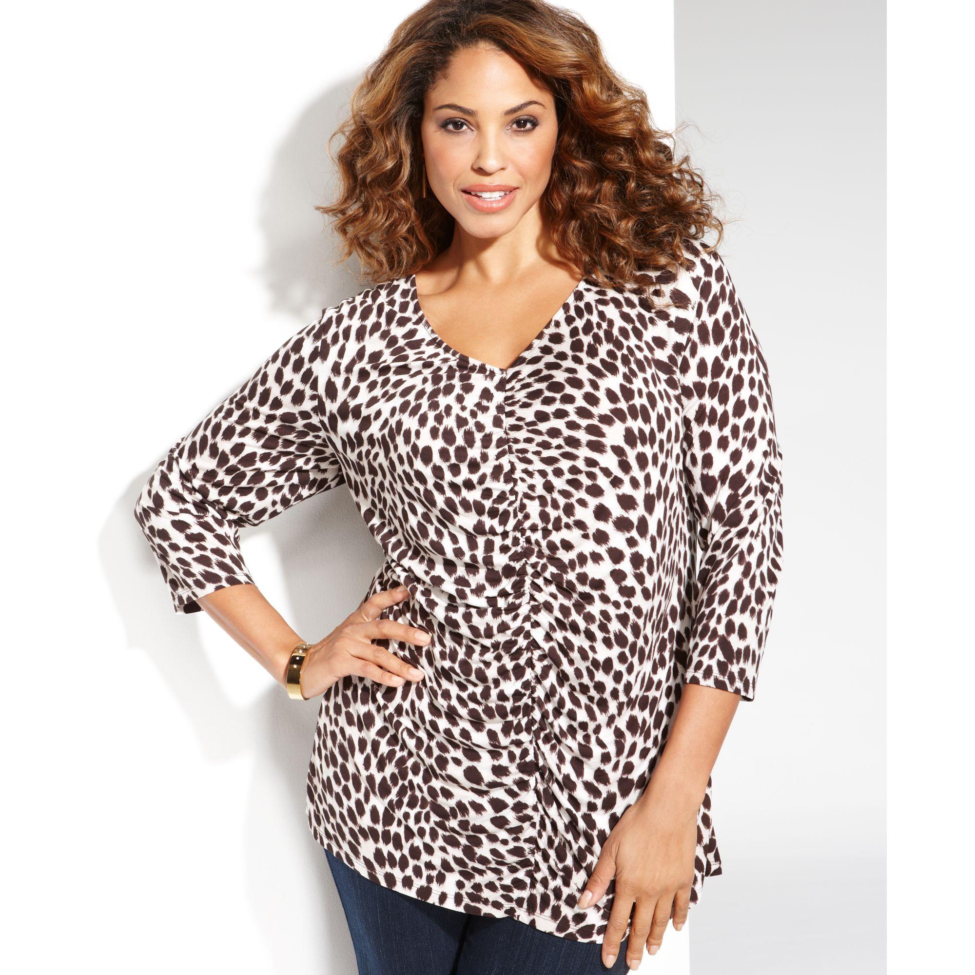 b40545ba54f Lyst - INC International Concepts Plus Size Cheetah print Ruched Top