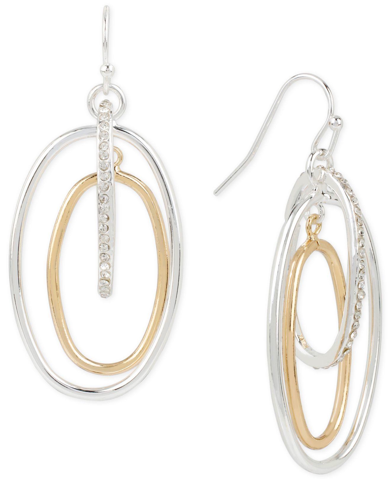 touch of silver pave orbital drop earrings in 14k gold