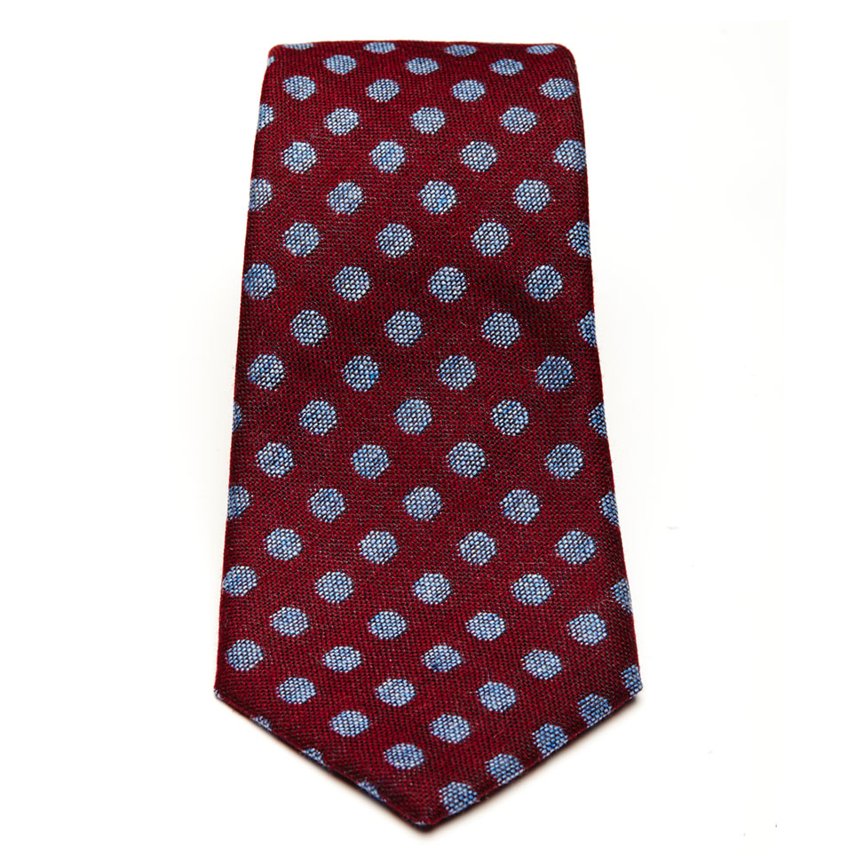 turnbull asser burgundy tie with blue spots for