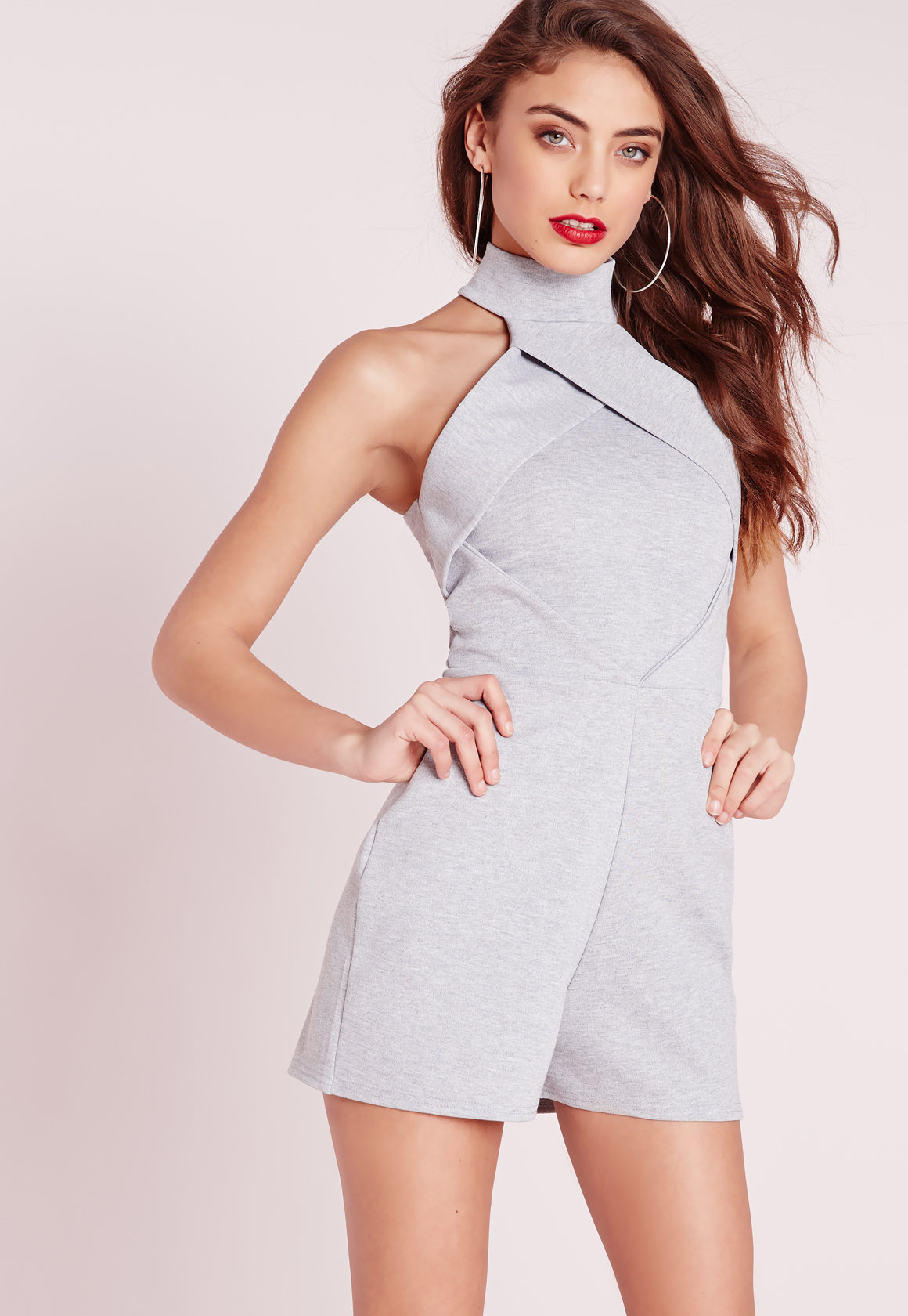 Missguided High Neck Origami Romper Grey in Gray | Lyst - photo#15