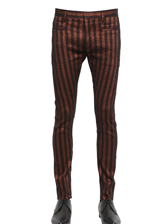 Haider ackermann Striped Stretch Linen & Cotton Pants in