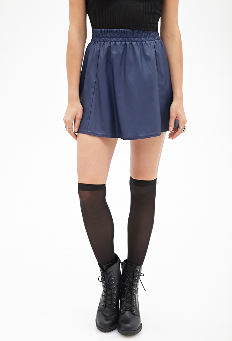 forever 21 faux leather flared skirt in blue lyst