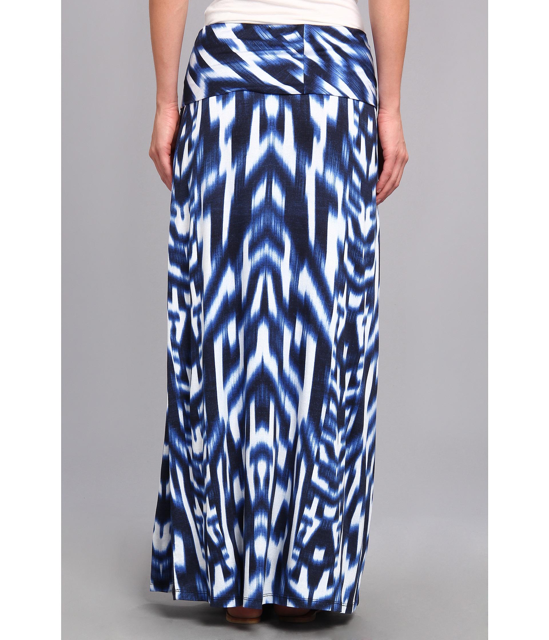 Calvin klein Print Maxi Skirt in Blue | Lyst