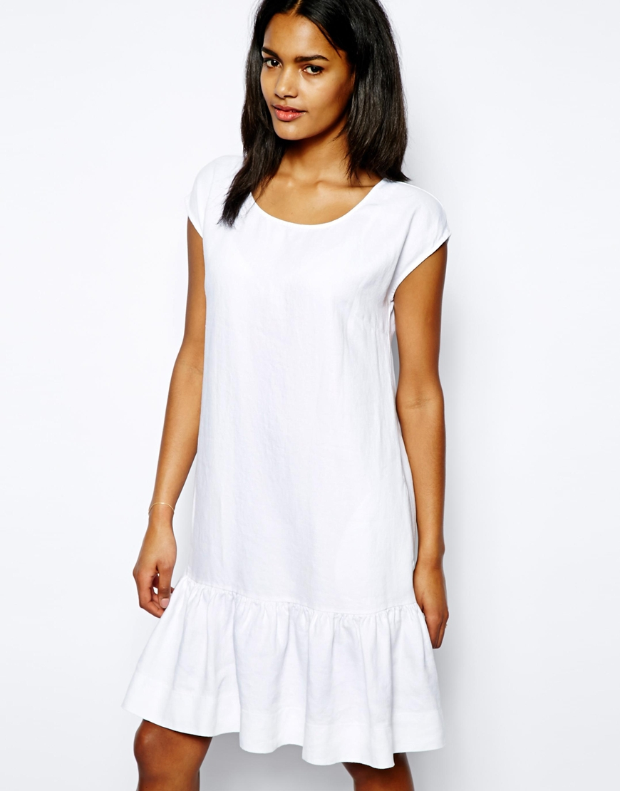 Love Moschino Drop Waist Dress In Brushed Linen In White