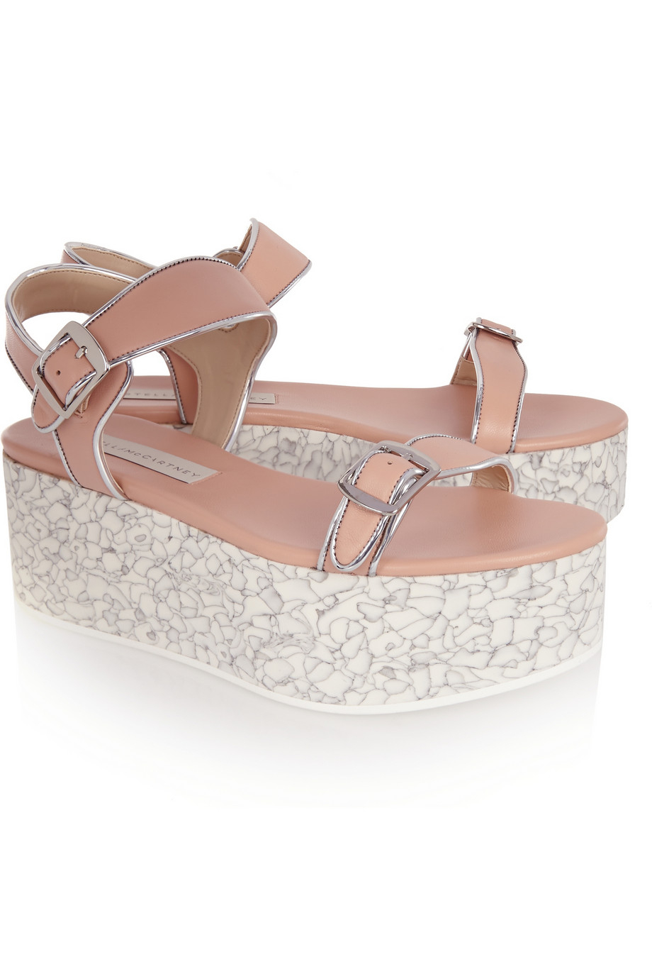 d39a783480b3 Lyst - Stella McCartney Metallic-Trimmed Faux Leather Platform ...