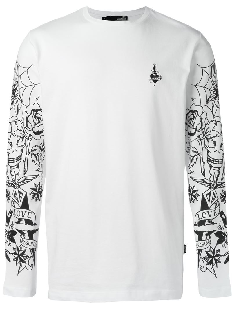 Lyst love moschino printed long sleeve t shirt in white for Mens printed long sleeve shirts