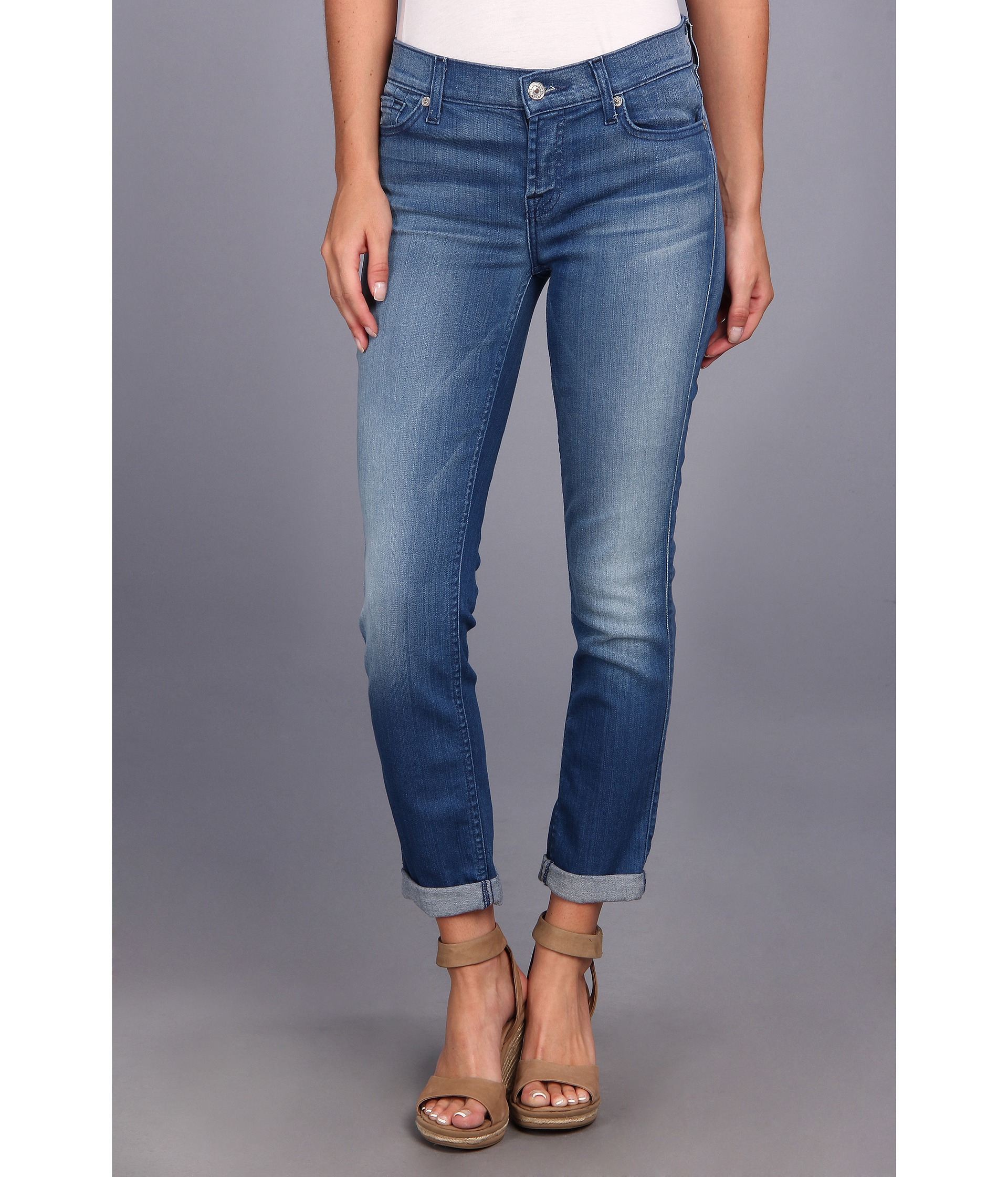 7 for all mankind Skinny Crop and Roll in Slim Illusion Bright ...