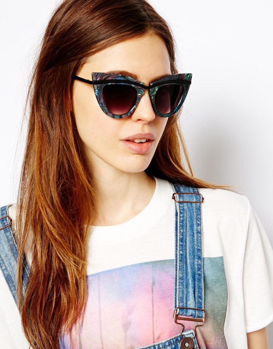 Flat Top Cat Eye Sunglasses  asos metal top cat eye sunglasses with built up highbrow in green