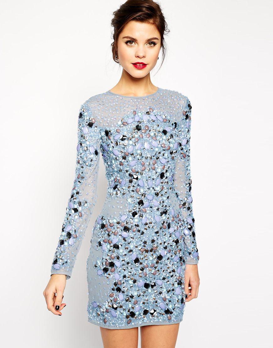 Lyst - Asos Red Carpet Premium Mermaid Bodycon Dress in Purple