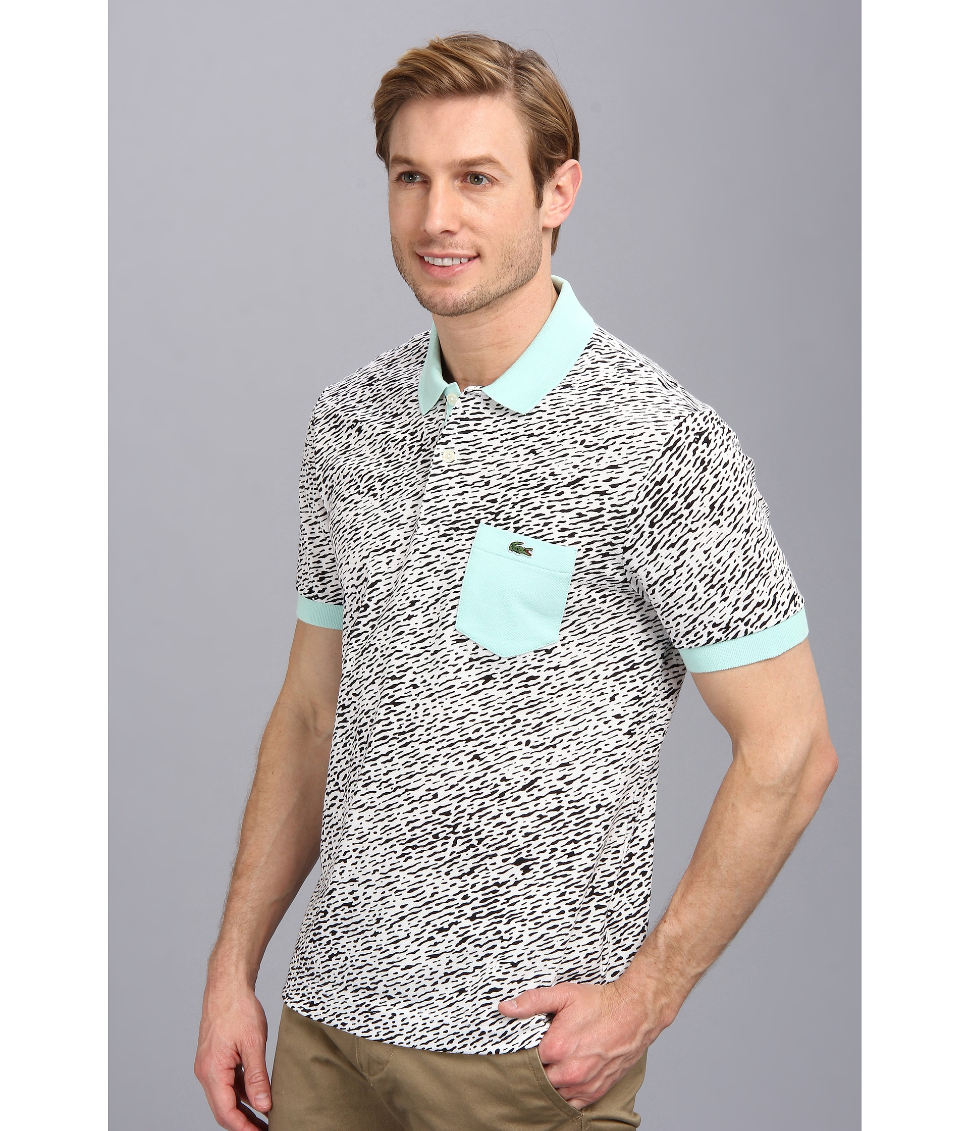 b87182fae Lacoste Live Short Sleeve Mini Pique All Over Camouflage Printed ...