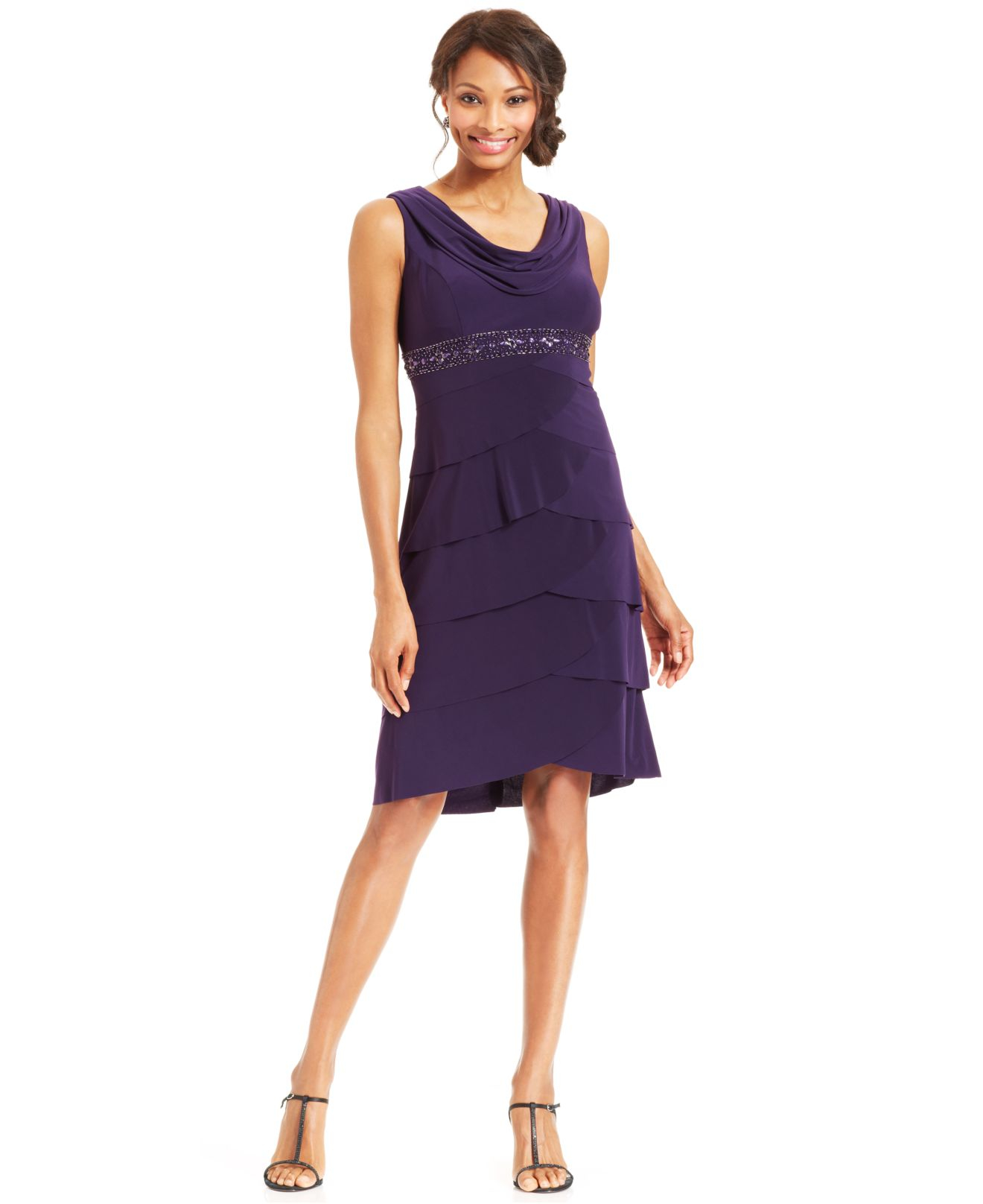 503d9cc5afe4 Alex Evenings Petite Beaded Cowl-Neck Dress And Jacket in Purple - Lyst
