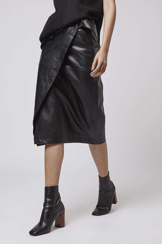 Topshop Wrap Pu Midi Skirt in Black | Lyst