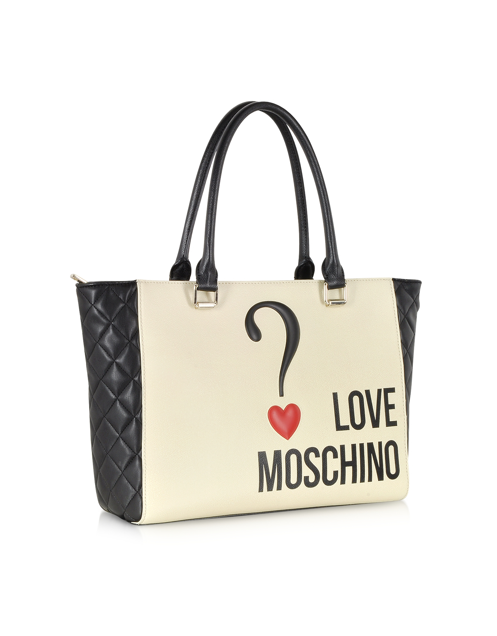 lyst moschino love color block eco leather shopper tote in natural. Black Bedroom Furniture Sets. Home Design Ideas