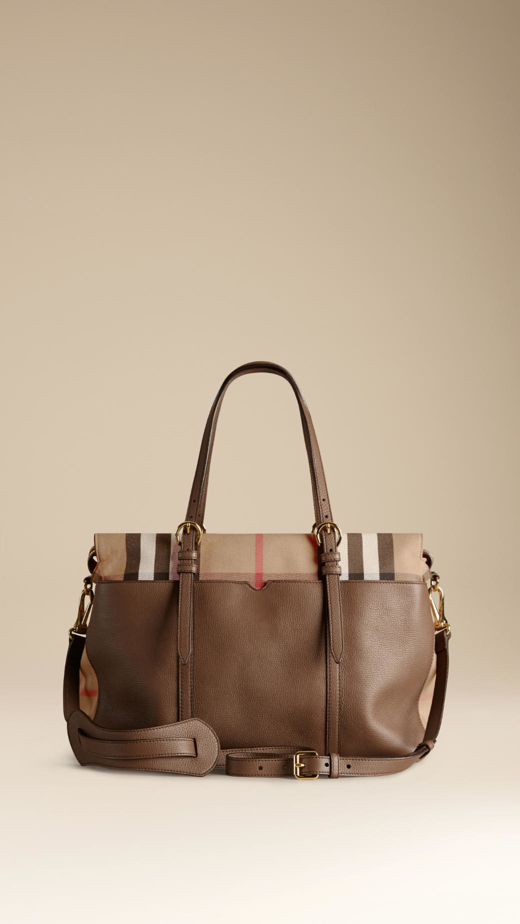 370a22e042d2 Lyst - Burberry House Check And Leather Baby Changing Bag in Brown