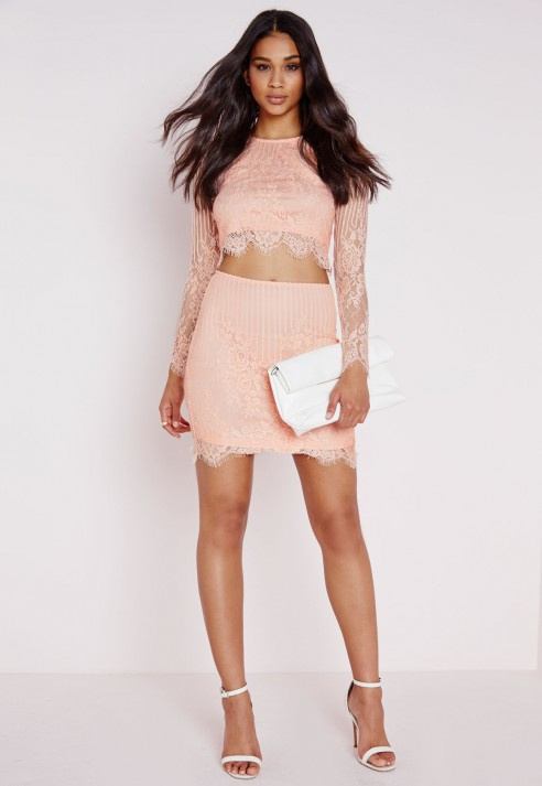 Missguided Lace Bodycon Mini Skirt Blush | Lyst