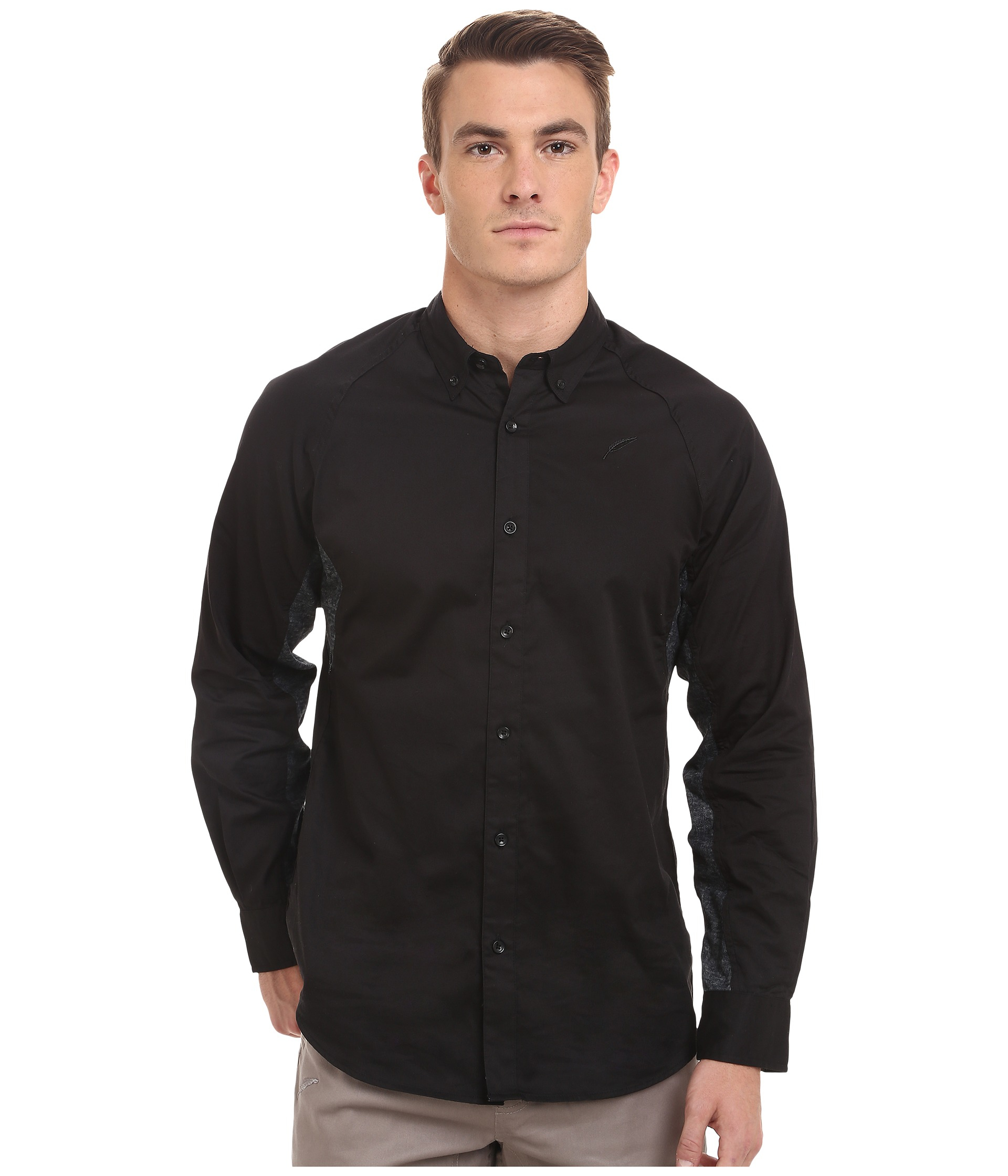 Timberland Marvin Oxford Long Sleeve Raglan Button Up in Black for ...