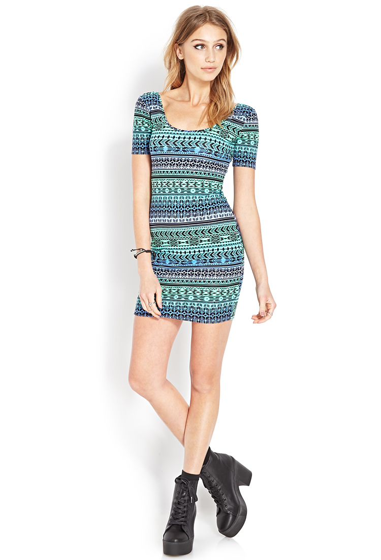 Forever 21 Tribal Print Ombre Dress in Green | Lyst