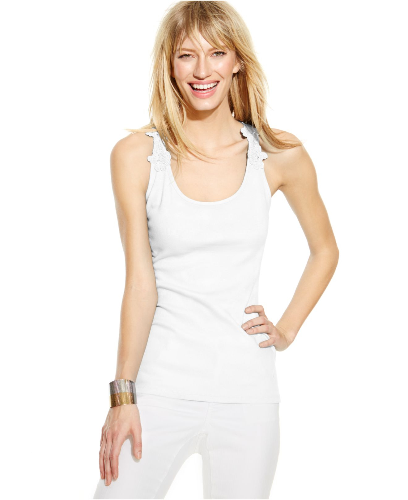 Inc international concepts Crochet-strap Tank Top in White | Lyst