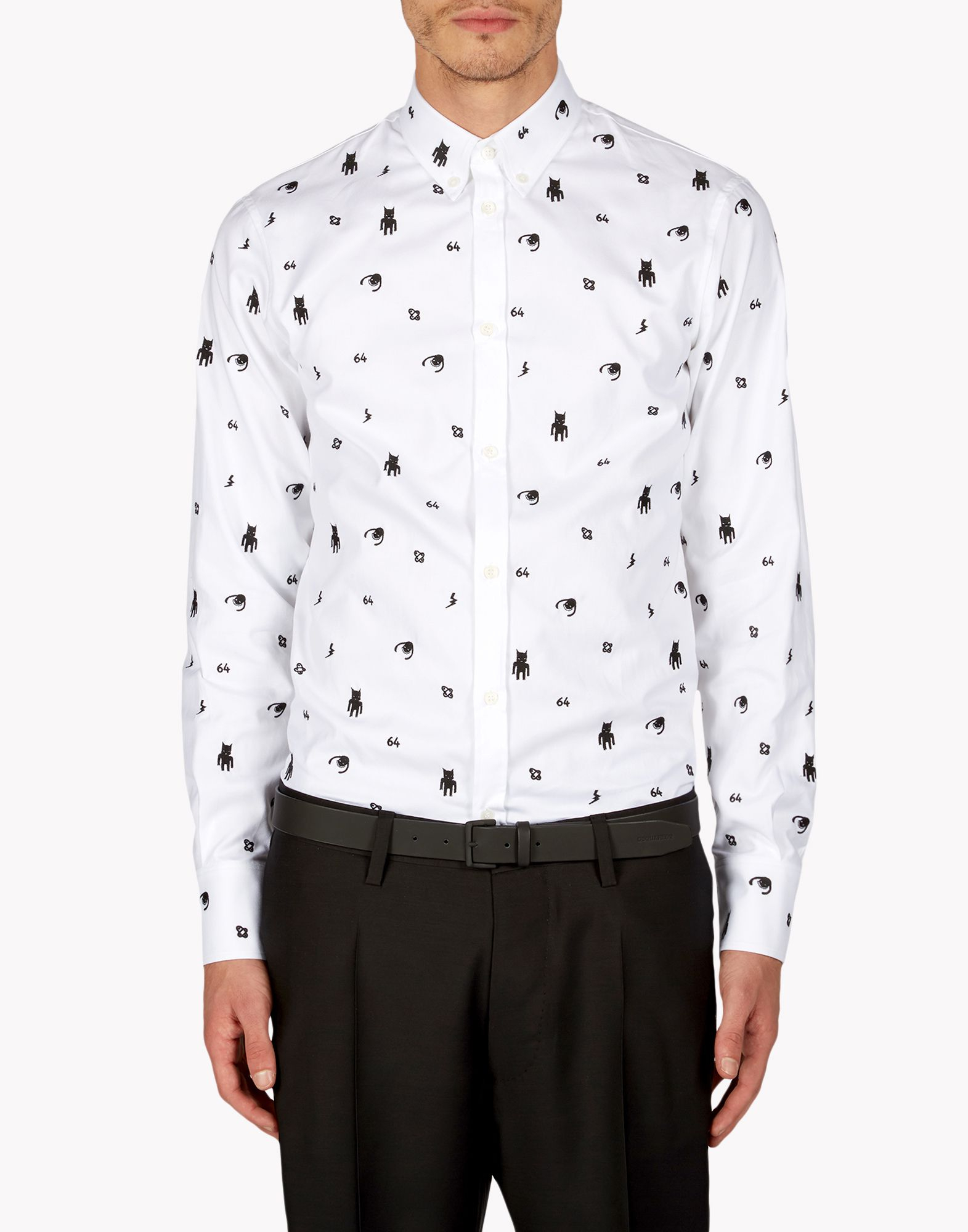 Lyst dsquared button down shirt in white for men for White button down shirt mens