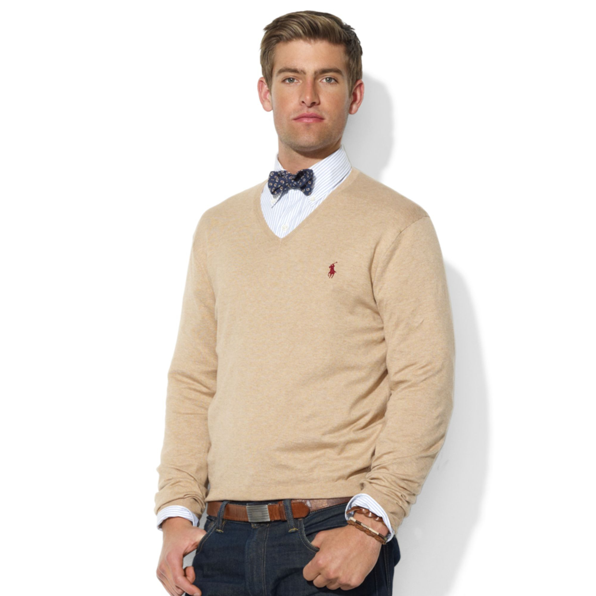 Ralph lauren Vneck Pima Cotton Sweater in Natural for Men | Lyst