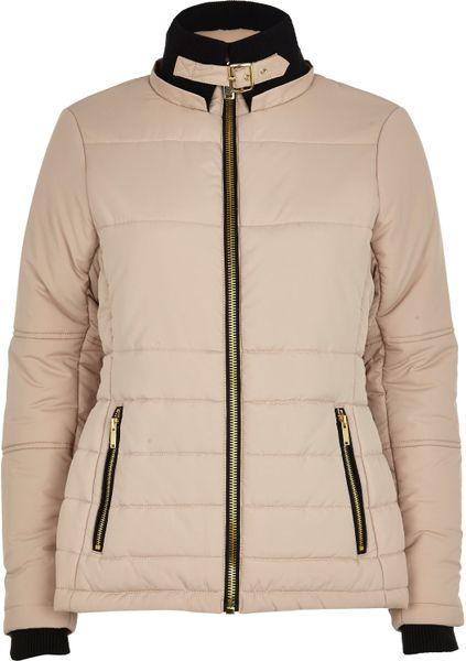 River Island Cream Faux Fur Collar Padded Jacket In Beige