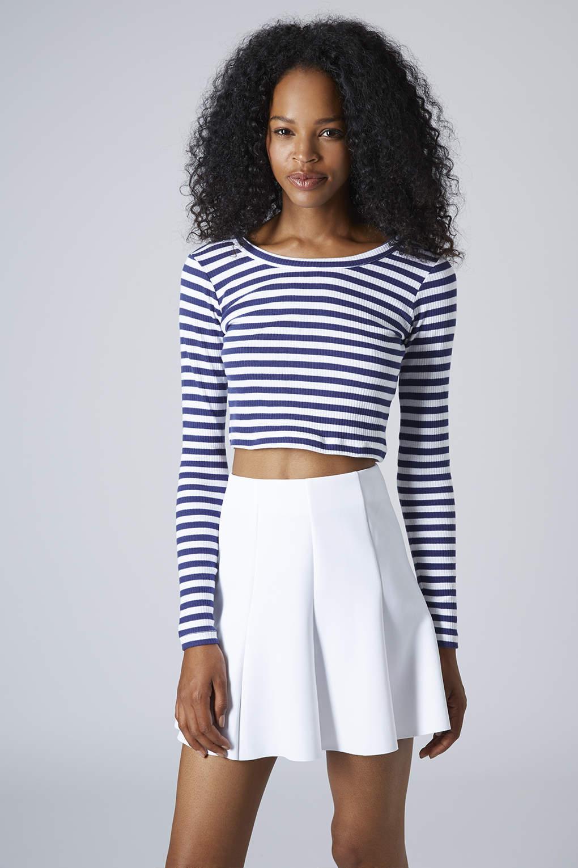 Topshop Womens Long Sleeve Stripe Ribbed Crop Top Blue In