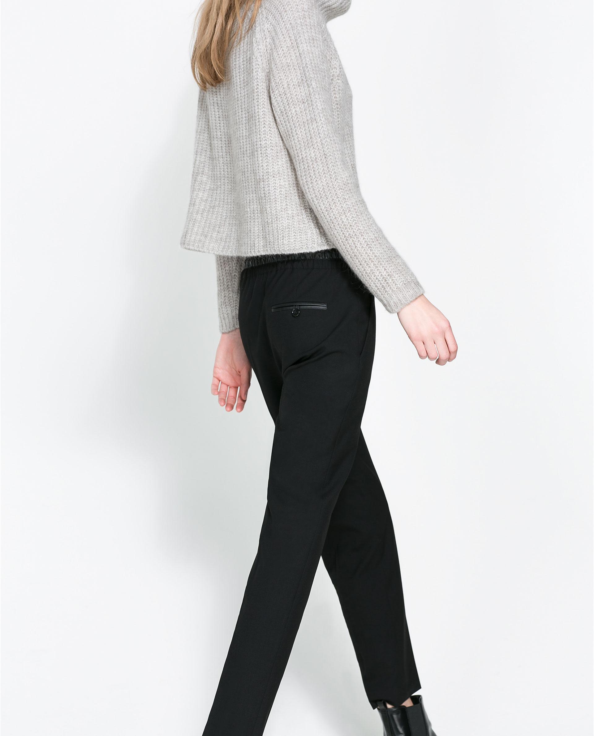 Simple ZARA Woman BNWT Authentic Faux Leather Biker Trousers Pants Zips M L