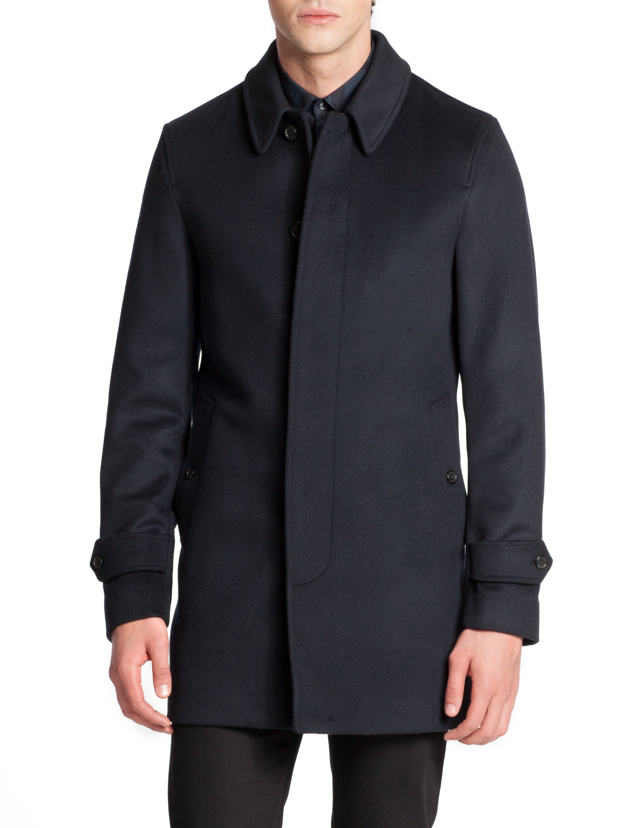 Burberry Roeford Wool/Cashmere Car Coat in Blue for Men | Lyst