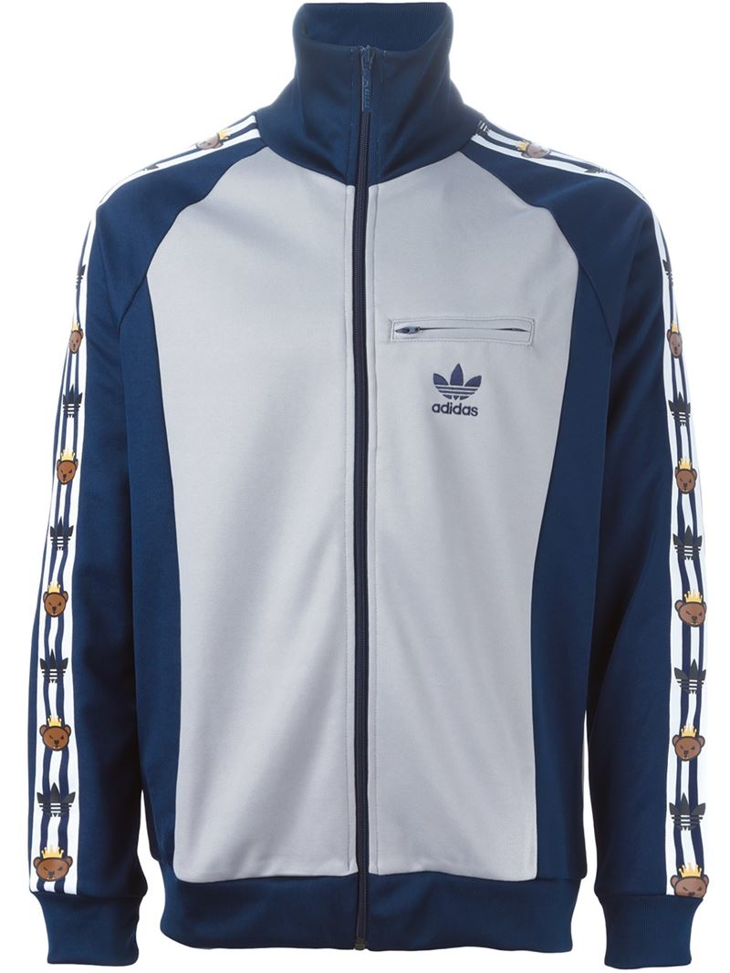 adidas originals adidas original x nigo bear printed sport jacket in blue for men lyst. Black Bedroom Furniture Sets. Home Design Ideas