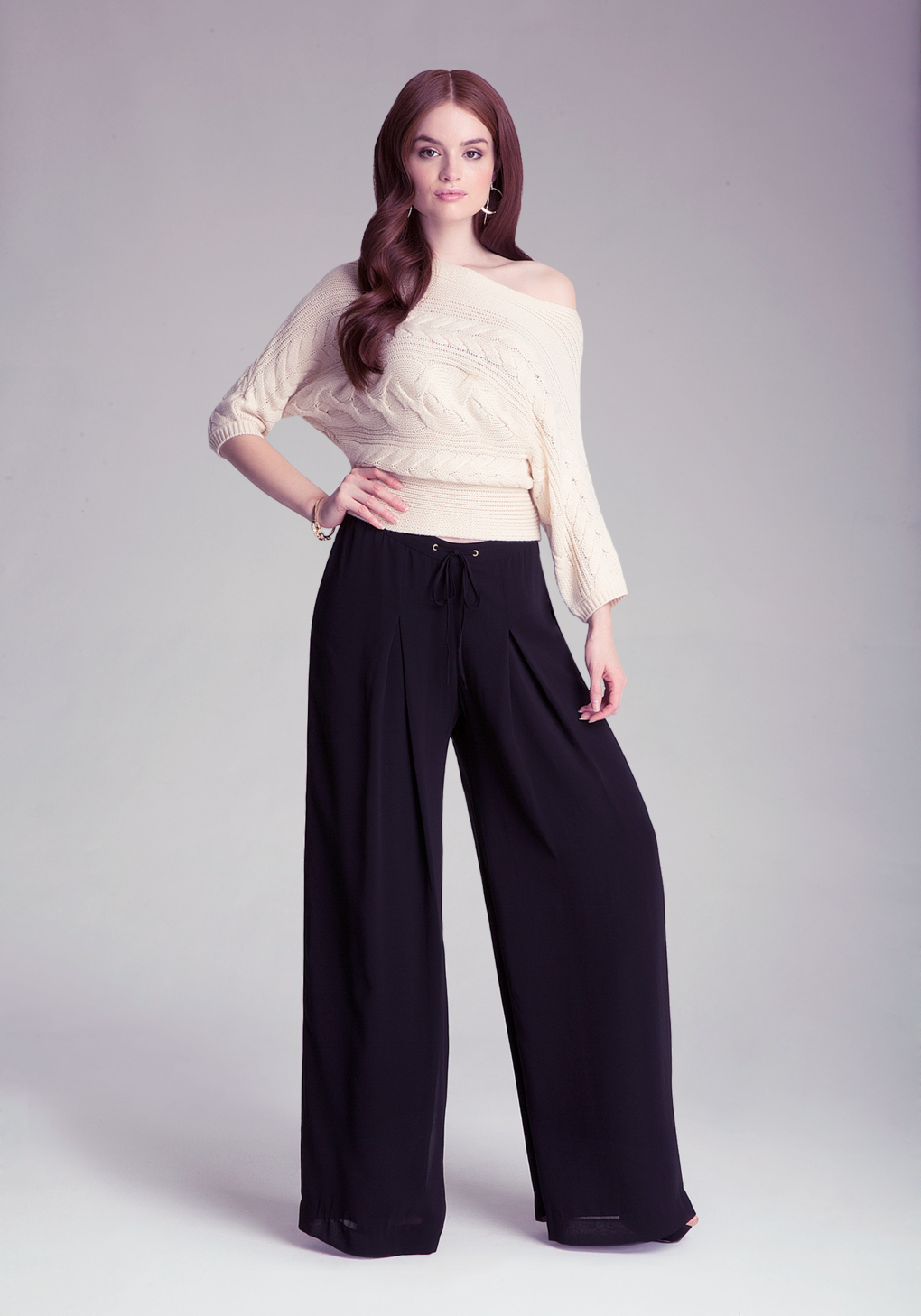 Bebe Petite Wide Leg Pants in Black | Lyst