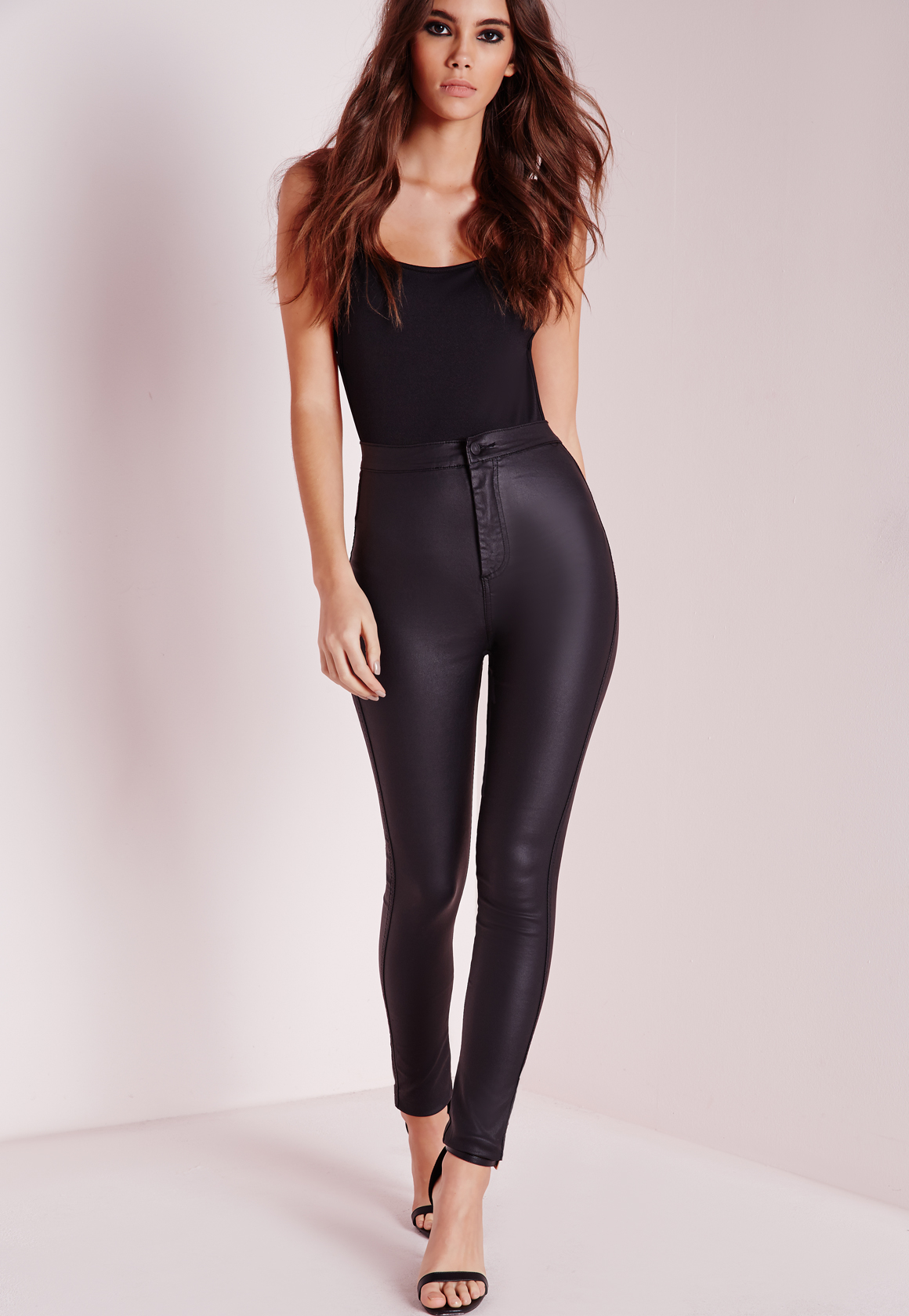 Missguided Vice Super Stretch Wet Look High Waisted Coated Skinny Jeans Black In Black -4231