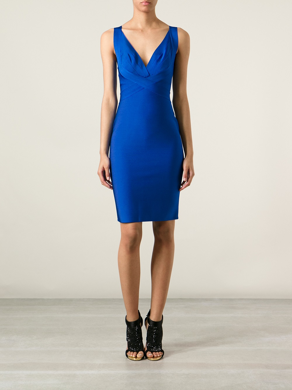Lyst Herv 233 L Leroux Fitted Dress In Blue