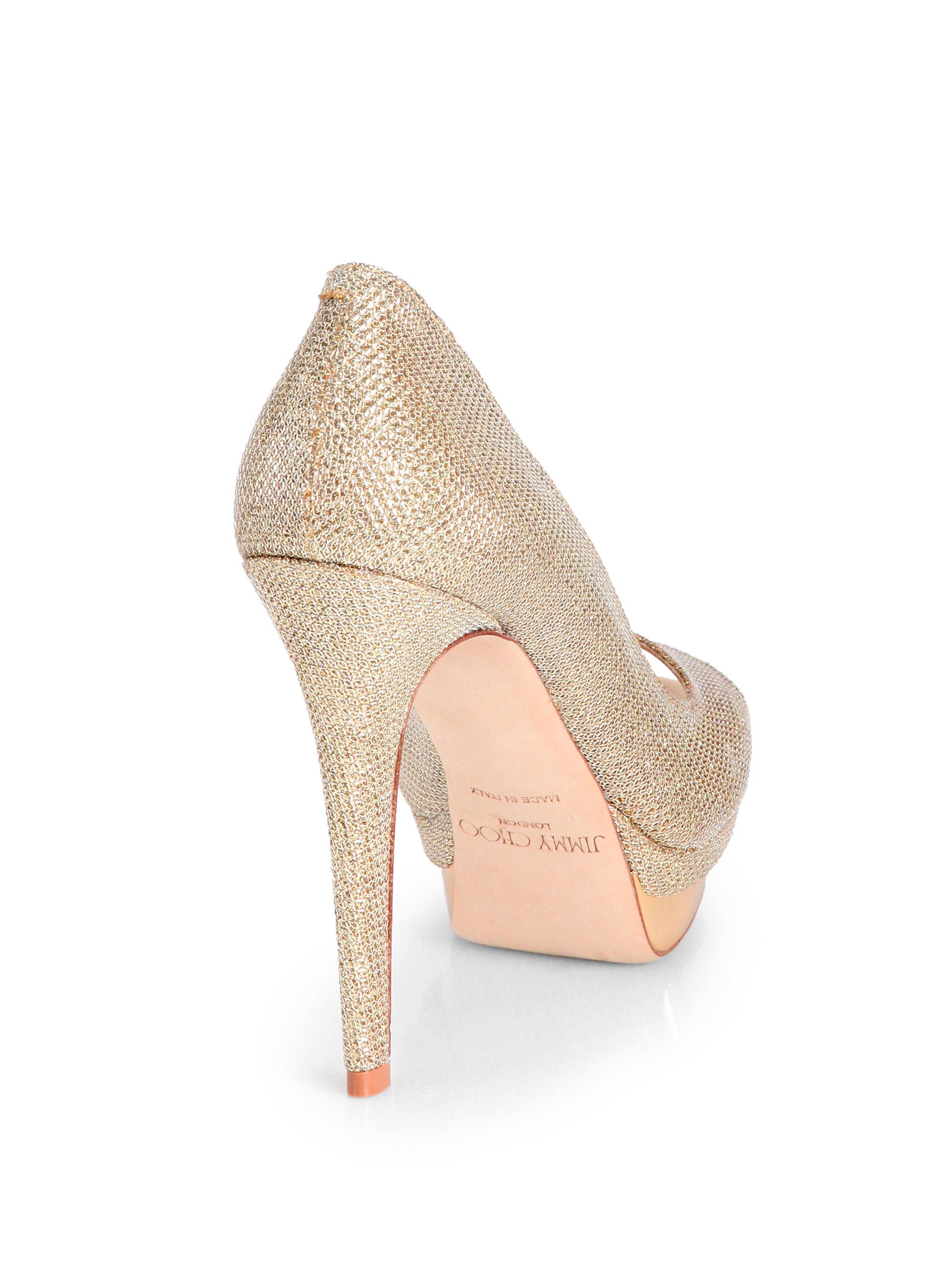 Gold Glitter Slingback Heels