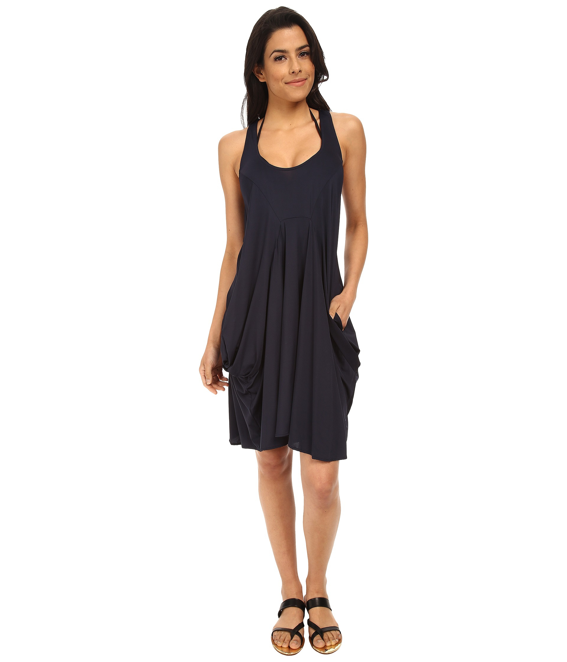Michael Michael Kors Solid Draped Cover-Up In Blue