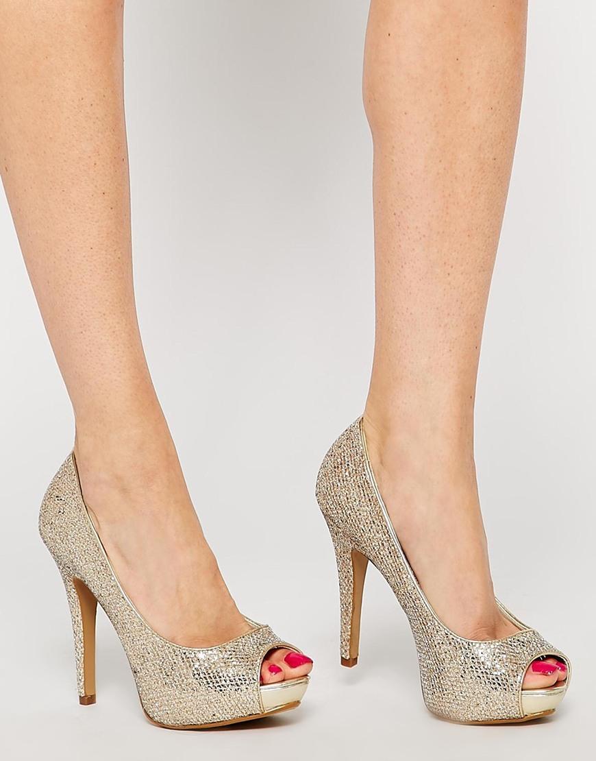 f2486efc95ca Lyst - ALDO Nean Gold Glitter Peep Toe Heeled Shoes in Metallic