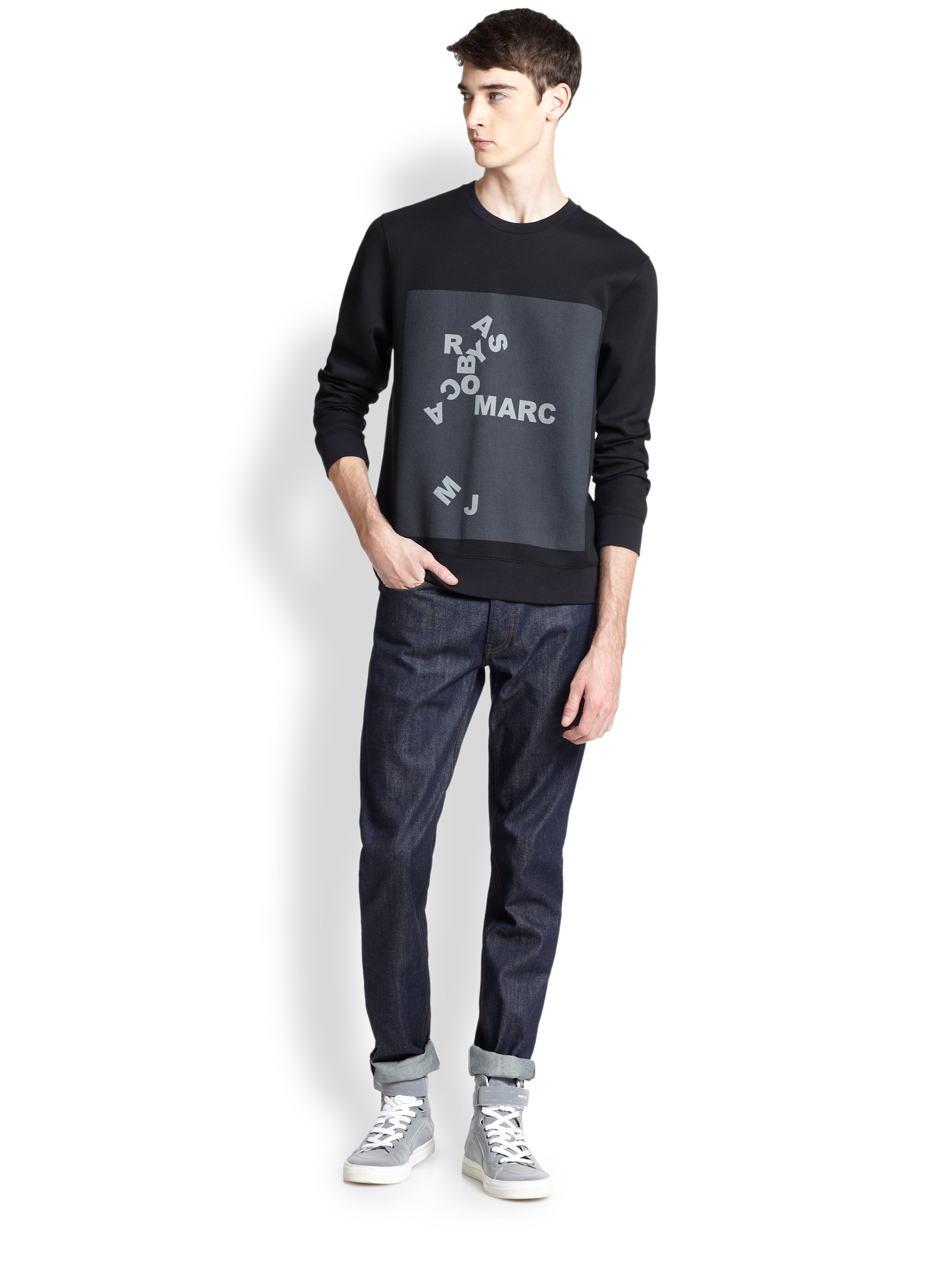 Marc by marc jacobs Jumbled Logo Sweatshirt in Black for ...