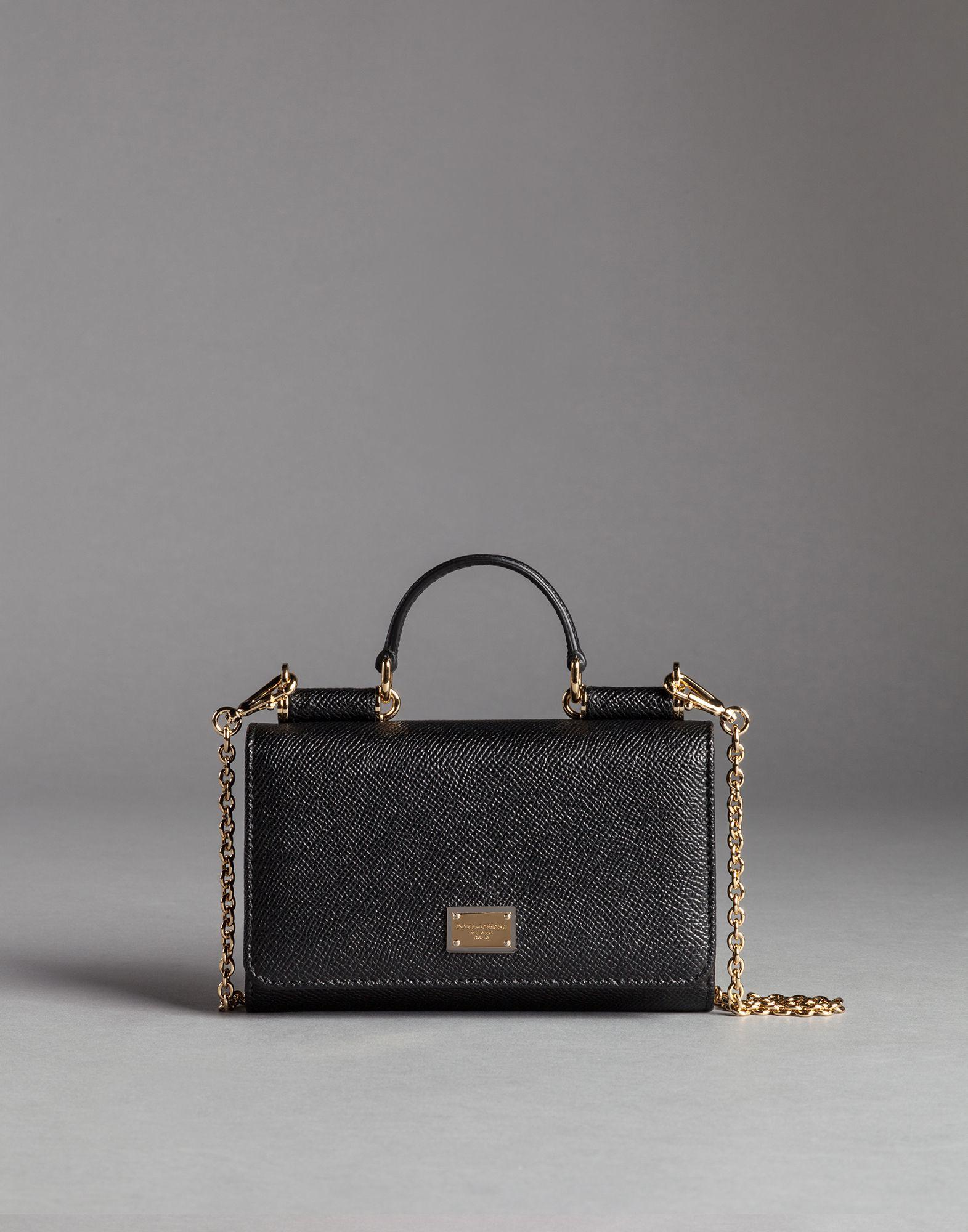 Dolce   Gabbana Mini Von Bag In Dauphine Print Leather in Black - Lyst 31458f46b6620