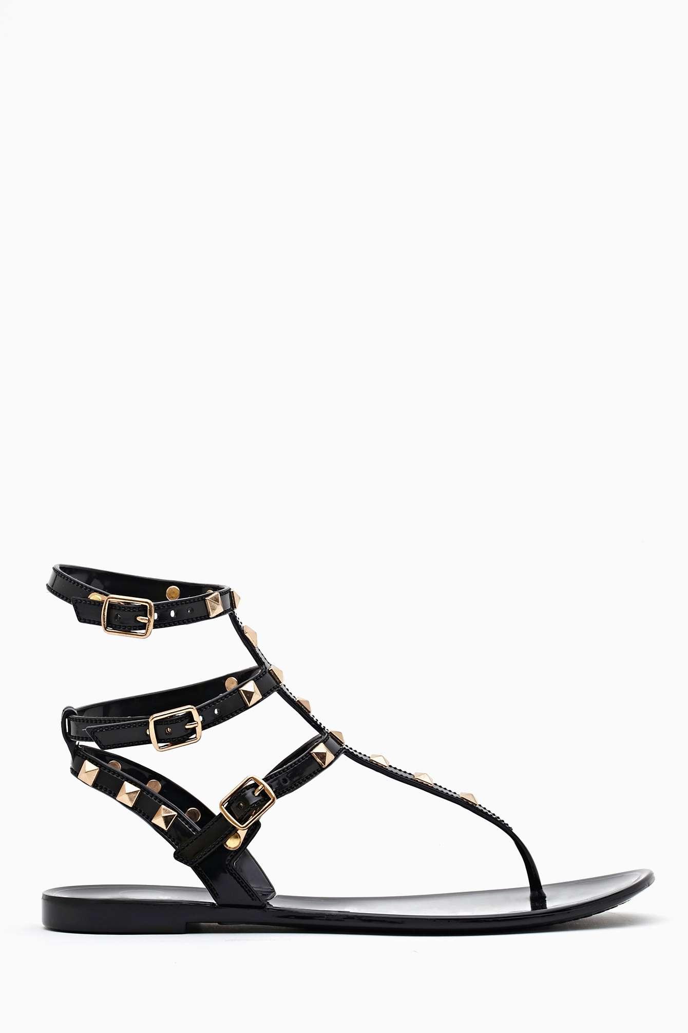77e721d53b85 Lyst - Nasty Gal Leyla Studded Sandal Black in Black