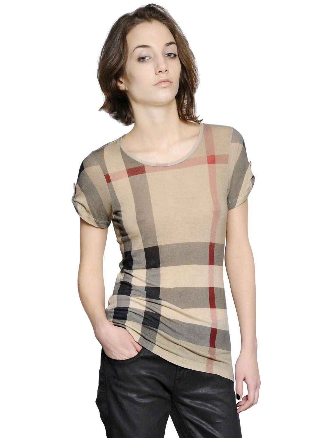 ac7758de80a3 Burberry Brit Check Printed Modal T-Shirt in Natural - Lyst