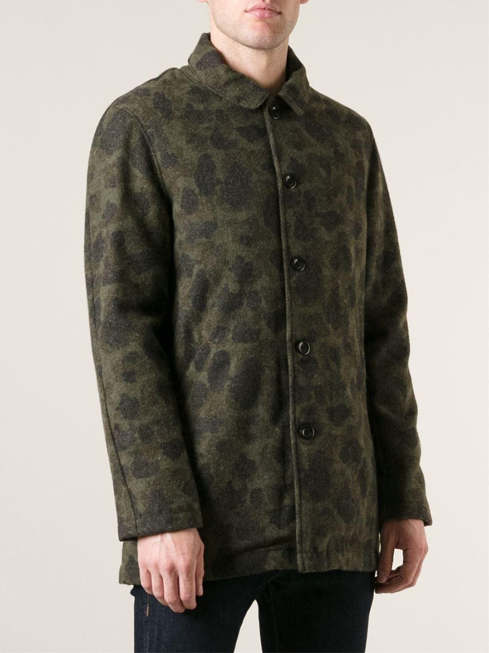 Lyst Edwin Camouflage Pattern Coat In Green For Men
