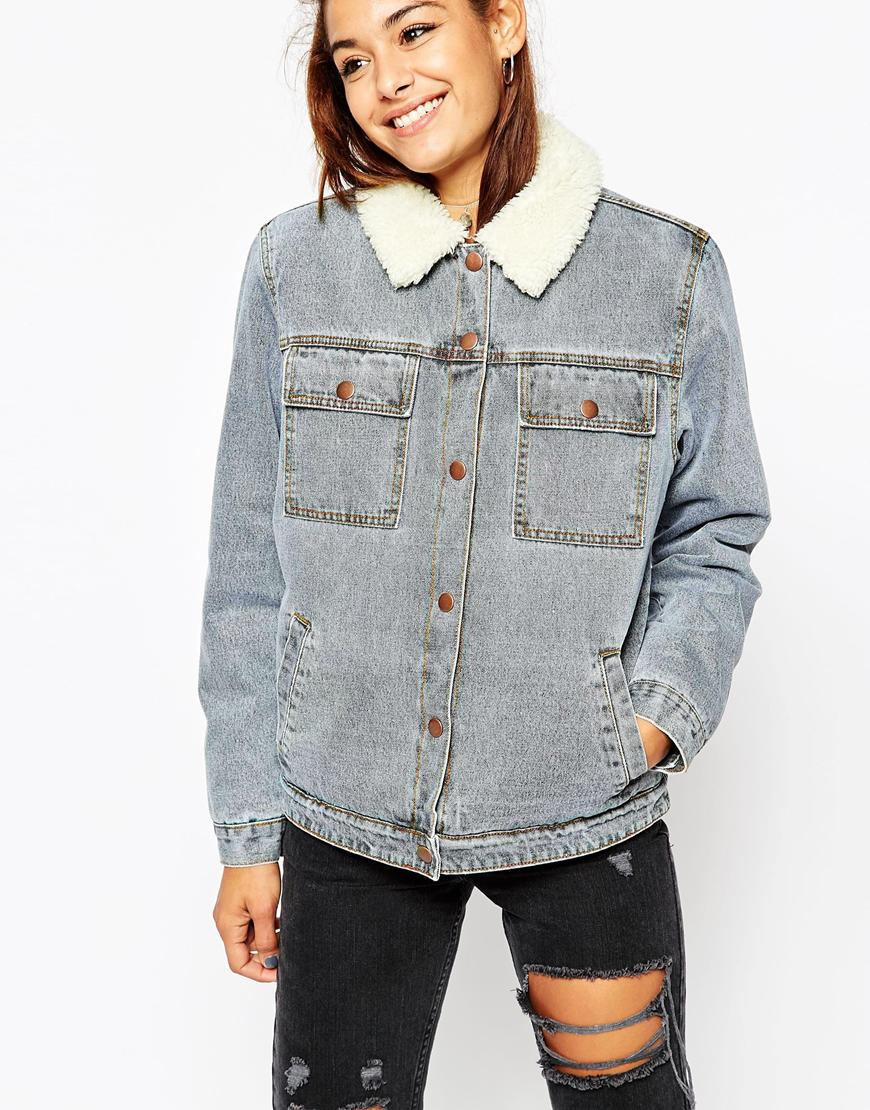 c13e5ab0735 ASOS Denim Jacket In Mid Stone Wash With Borg Lining And Collar in ...