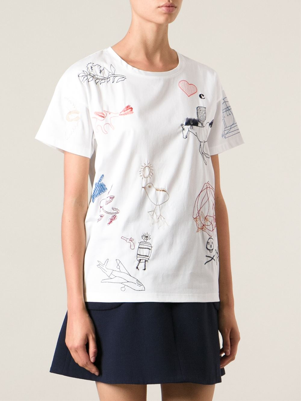 Lyst carven embroidered tshirt in white