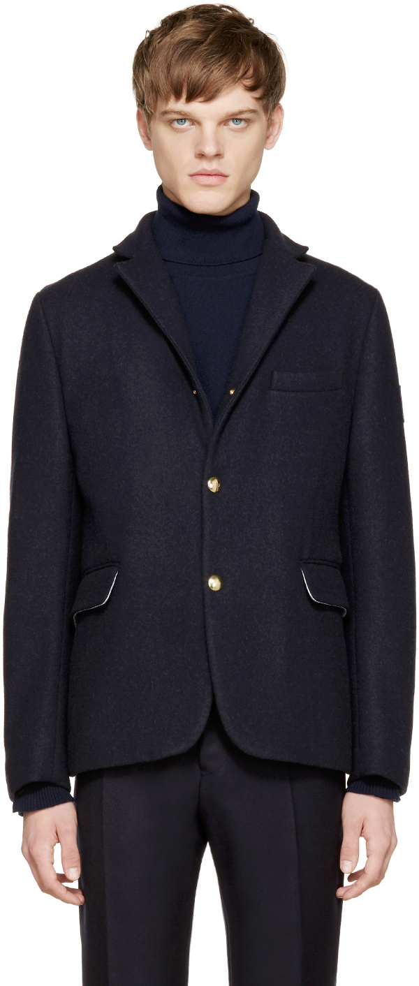 aed41d30c Lyst - Moncler Gamme Bleu Navy Wool Down Blazer in Blue for Men